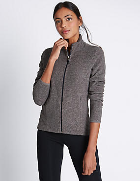 Funnel Neck Fleece Jacket, GREY, catlanding