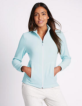 Funnel Neck Fleece Jacket, MINT, catlanding