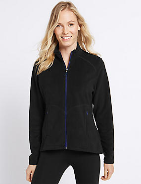 Funnel Neck Fleece Jacket, BLACK, catlanding