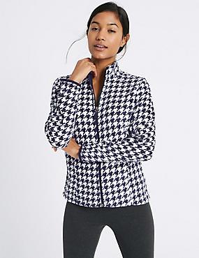 Printed Fleece Jacket, NAVY MIX, catlanding