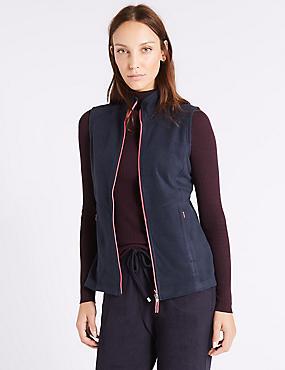 Fleece Contrasting Zip Gilet, NAVY, catlanding