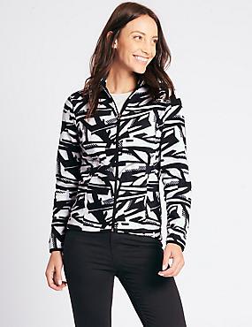 Printed Fleece Jacket, BLACK MIX, catlanding