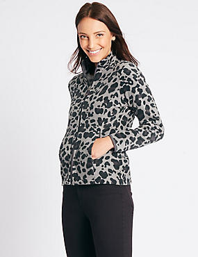 Animal Print Fleece Jacket, GREY MIX, catlanding