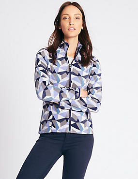 Printed Fleece Jacket, BLUE MIX, catlanding