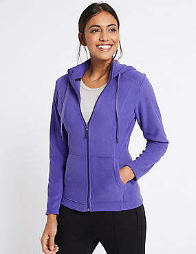 Hooded Fleece Jacket, PURPLE, catlanding