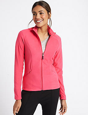 Panelled Fleece Jacket, HOT PINK, catlanding
