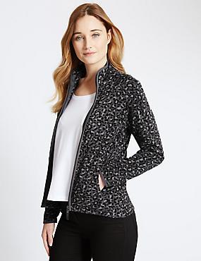 Leopard Print Fleece Jacket, GREY MIX, catlanding
