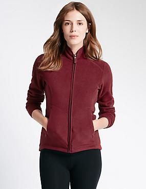 PLUS Zipped Fleece Jacket, CLARET, catlanding