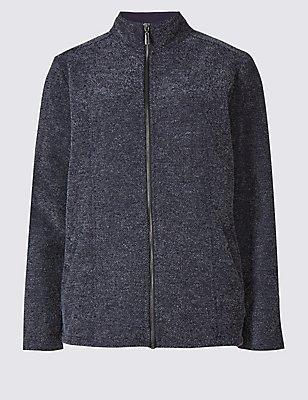 Boucle Fleece Jacket, NAVY, catlanding