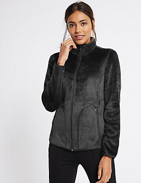 Velvet Stitch Detail Fleece Jacket, BLACK, catlanding