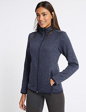 Knitted Contrasting Edge Fleece Jacket, NAVY, catlanding
