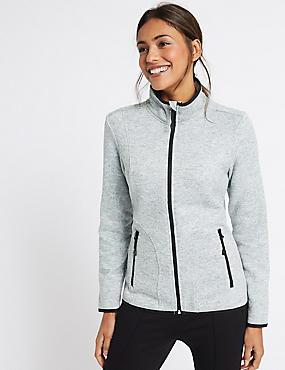 Knitted Contrasting Edge Fleece Jacket, GREY MARL, catlanding