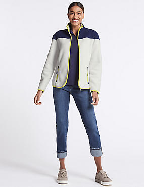 Colour Block Fleece Jacket , IVORY MIX, catlanding