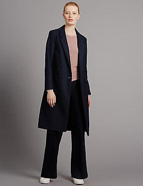 Double Breasted Coat, NAVY, catlanding