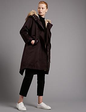Faux Fur Trim Hooded Parka with Stormwear™, DARK WINE, catlanding