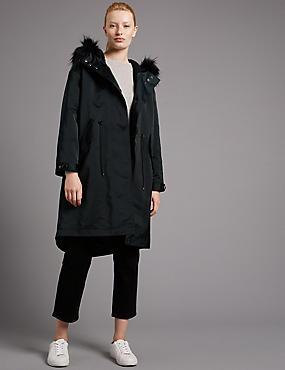 Faux Fur Trim Hooded Parka with Stormwear™, DARK GREEN, catlanding