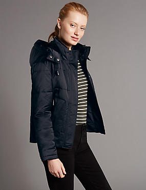 Faux Fur Padded & Quilted Coat with Stormwear™, NAVY, catlanding