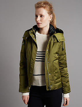 Faux Fur Padded & Quilted Coat with Stormwear™, KHAKI, catlanding