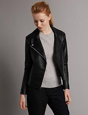 Leather Jacket with Belt , BLACK, catlanding