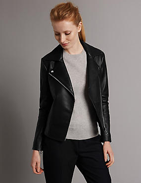 Leather Biker Jacket with Belt , BLACK, catlanding