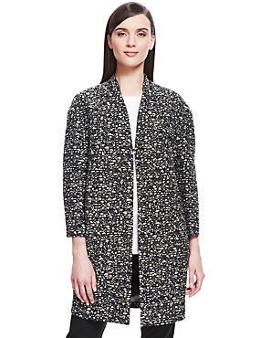 Black Mix Graphic Duster Coat