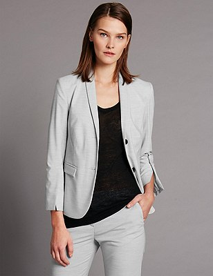 Split Cuff Blazer, GREY, catlanding