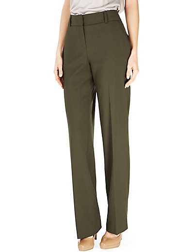 Flat Front Bootleg Trousers with Wool Clothing