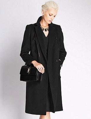 Wool Rich Double Breasted OverCoat, BLACK, catlanding