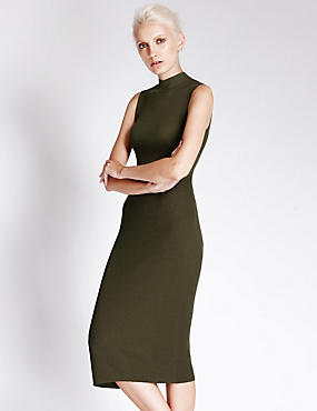 Funnel Neck Knitted Midi Dress