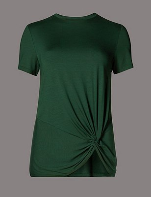Short Sleeve Drape Top, GREEN, catlanding