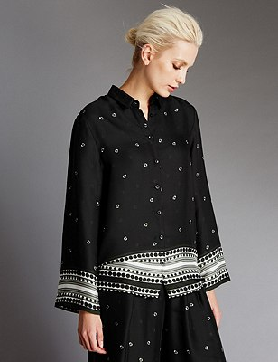 Scarf Print Long Sleeve Blouse, BLACK MIX, catlanding