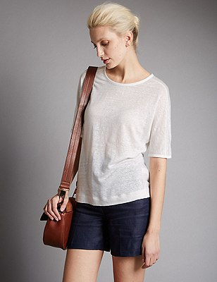 Pure Linen Top, SOFT WHITE, catlanding