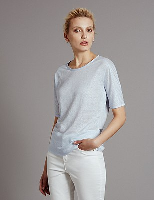 Pure Linen Top, PALE BLUE, catlanding