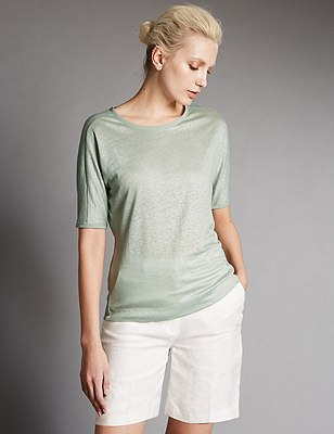 Pure Linen Top, MINT, catlanding