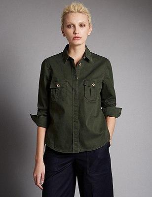 Cotton Rich Utility Shirt, KHAKI, catlanding