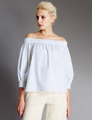Pure Cotton Off The Shoulder Blouse, SOFT WHITE, catlanding