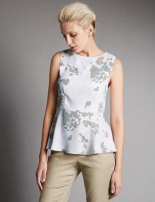 Camouflage Print Blouse, MINT MIX, catlanding