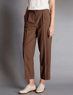 Tapered Leg Trousers with Wool