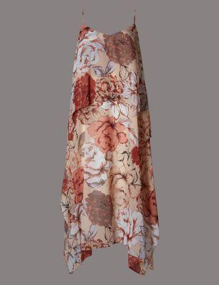 Двуслойное платье на бретельках с цветочным рисунком