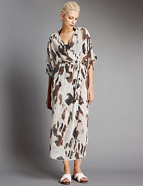 Animal Print Kimono Maxi Dress