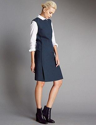 Sleeveless Shift Dress, NAVY, catlanding