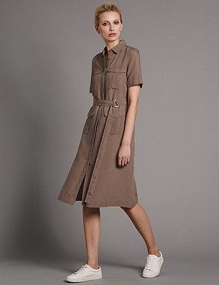 Linen Blend Belted Shift Dress, TOBACCO, catlanding