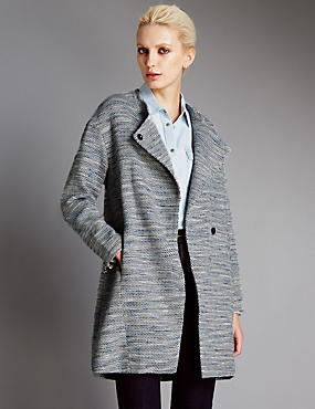 Cotton Rich Textured Bouclé Overcoat