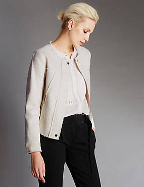 Pure Cotton Textured Raw Edge Zipped Jacket