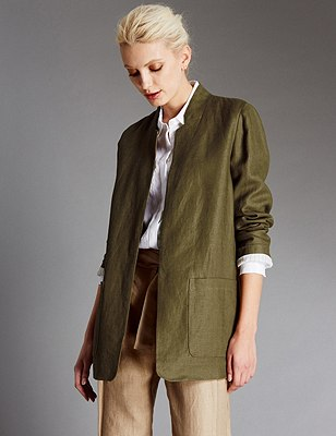 Pure Linen Rustic Jacket, KHAKI, catlanding