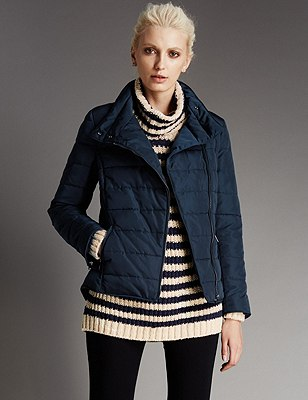 Stand Collar Padded Short Jacket with Stormwear™, NAVY, catlanding