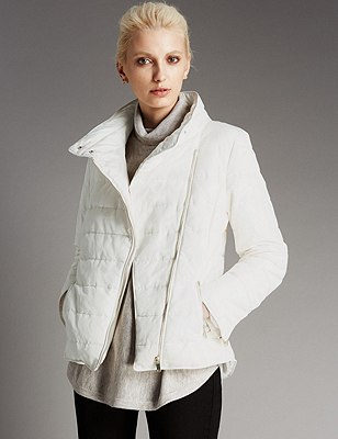 Stand Collar Padded Short Jacket with Stormwear™, SOFT WHITE, catlanding