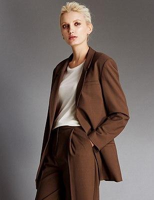 1 Button Blazer with Wool, BROWN, catlanding