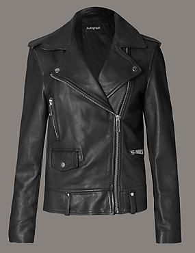 Leather Zipped through Jacket