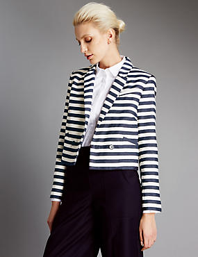 Cotton Rich Striped Blazer